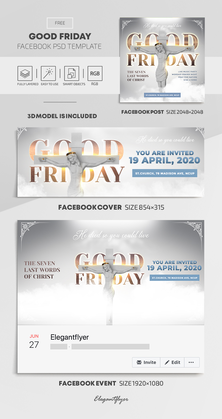 Good Friday – Free Facebook Cover Template in PSD + Post + Event cover