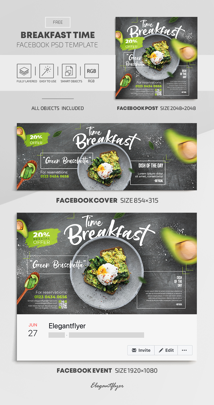 Breakfast Time – Free Facebook Cover Template in PSD + Post + Event cover