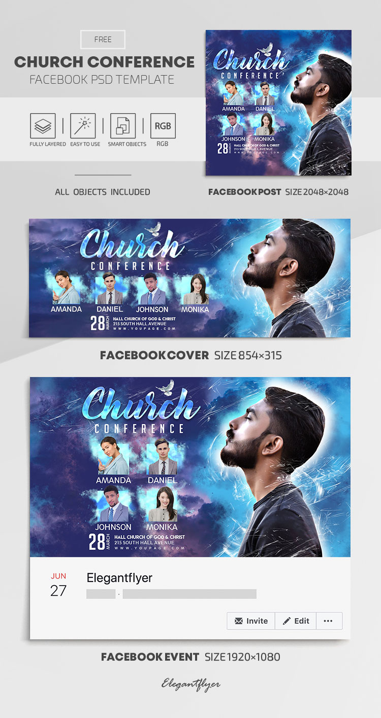 Church Conference – Free Facebook Cover Template in PSD + Post + Event cover