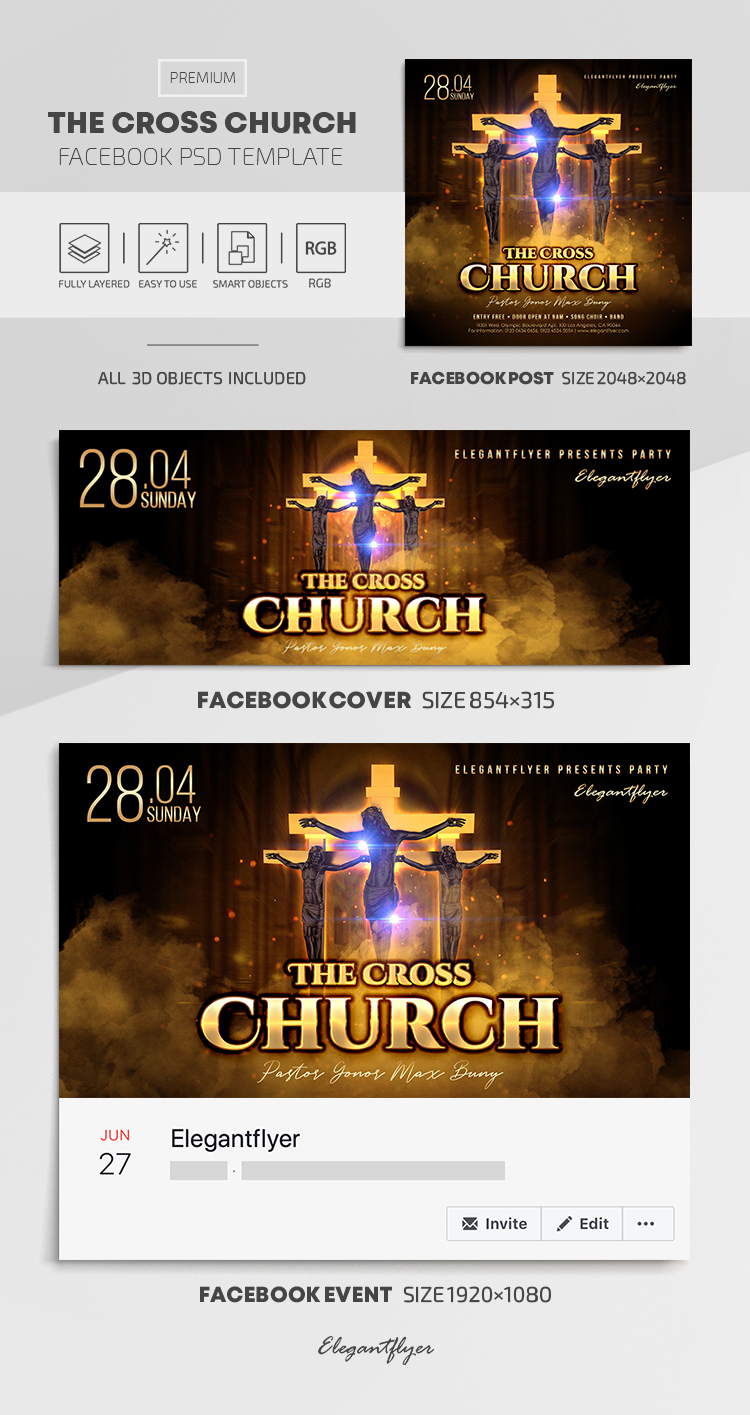 The Cross Church – Facebook Cover Template in PSD + Post + Event cover
