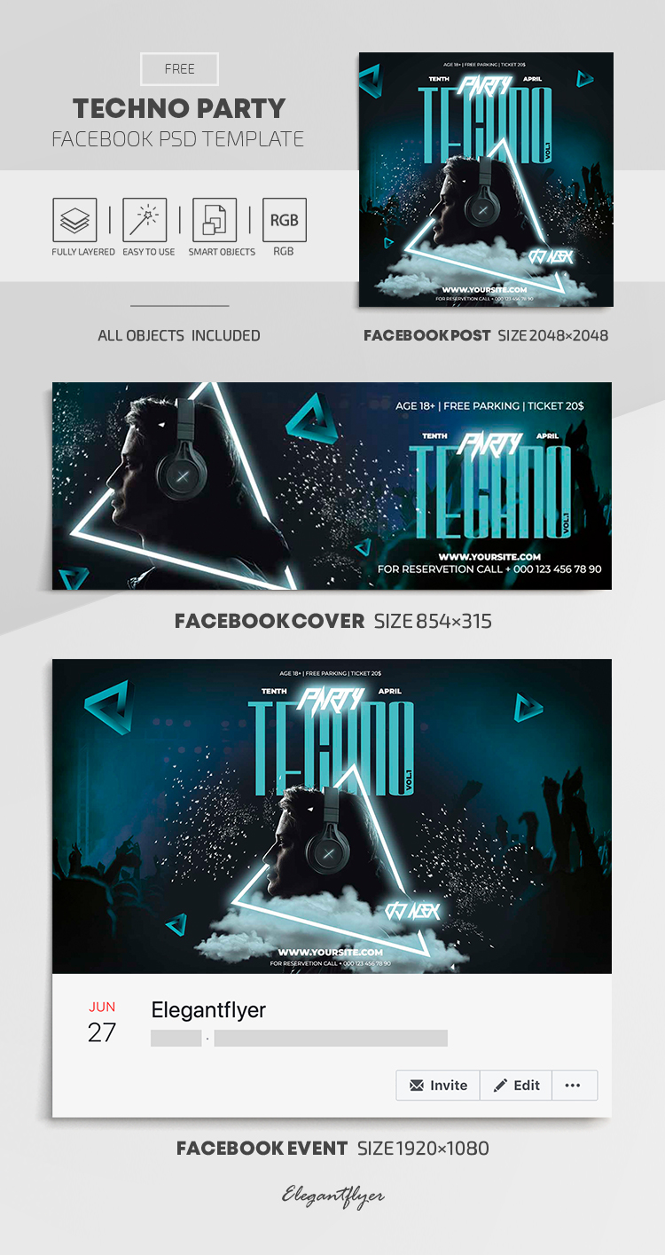 Techno Party – Free Facebook Cover Template in PSD + Post + Event cover