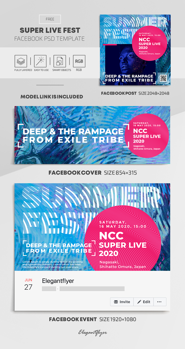 Super Live Fest – Free Facebook Cover Template in PSD + Post + Event cover