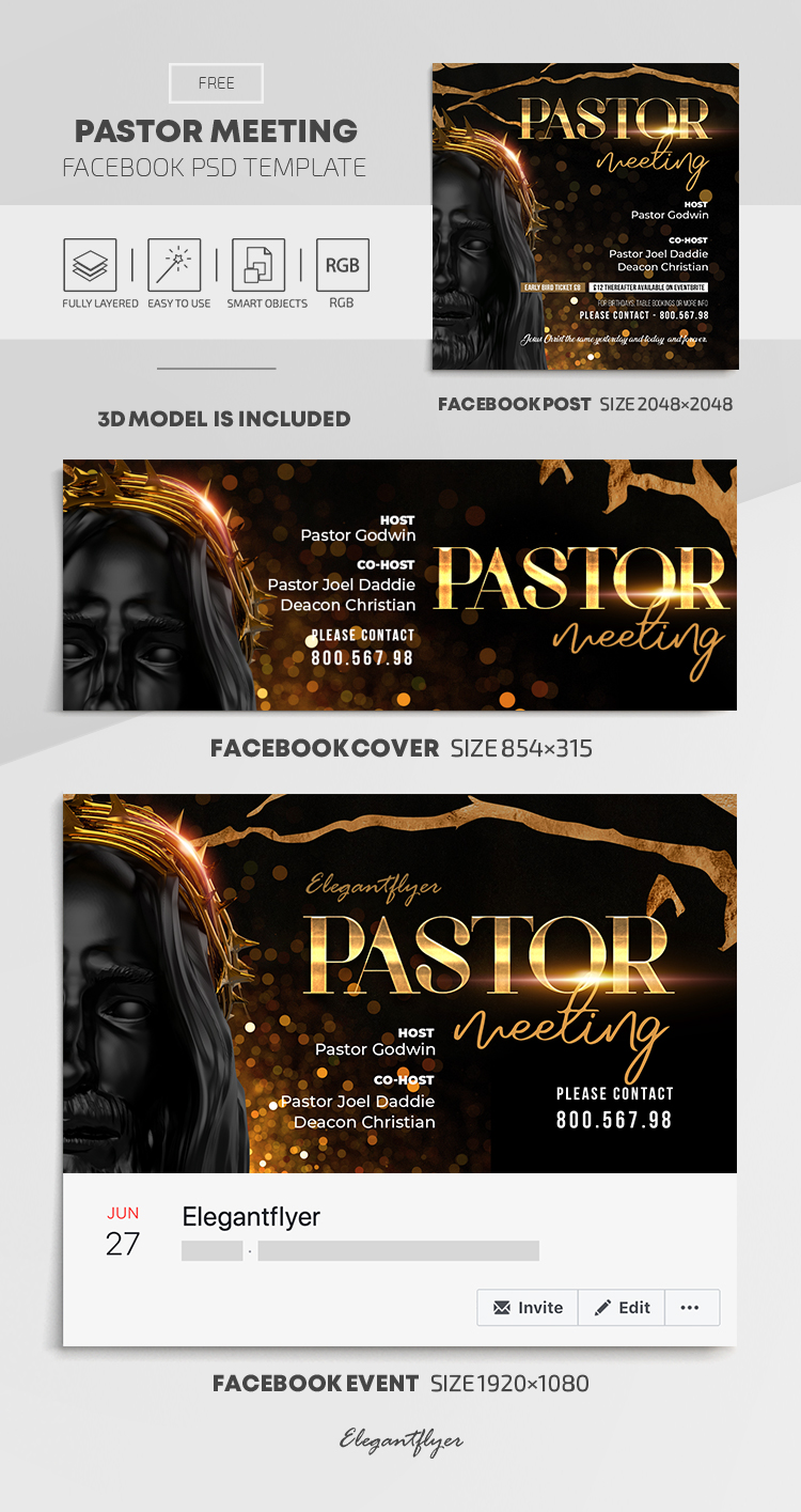 Pastor Meeting – Free Facebook Cover Template in PSD + Post + Event cover