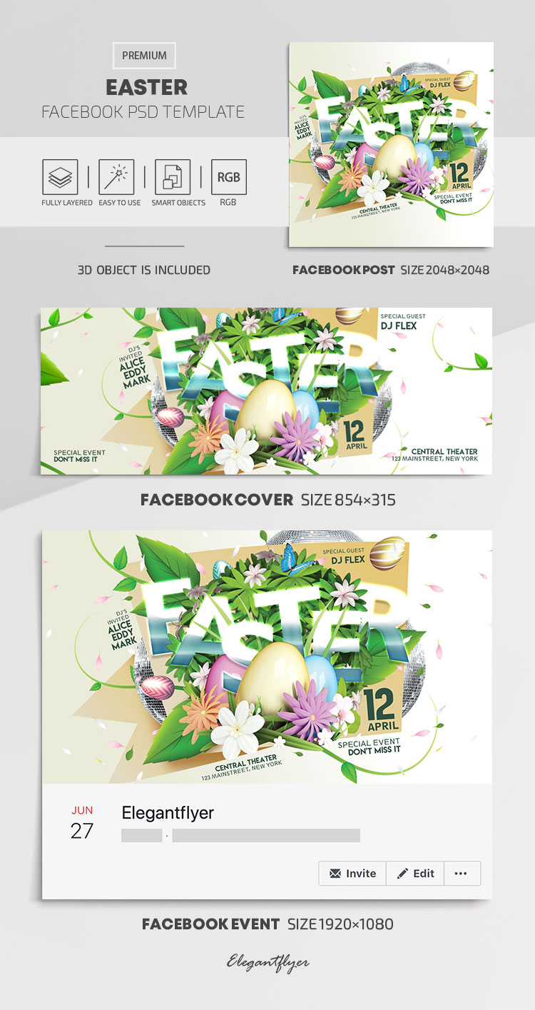 Easter – Facebook Cover Template in PSD + Post + Event cover