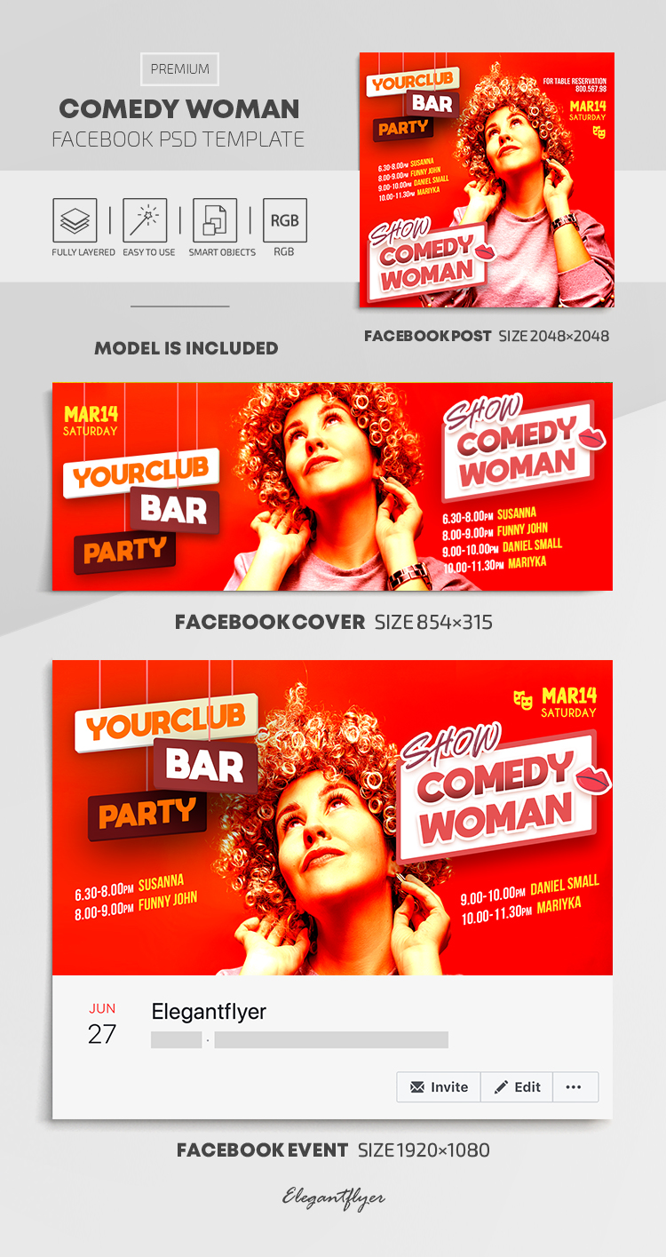 Comedy Woman – Facebook Cover Template in PSD + Post + Event cover