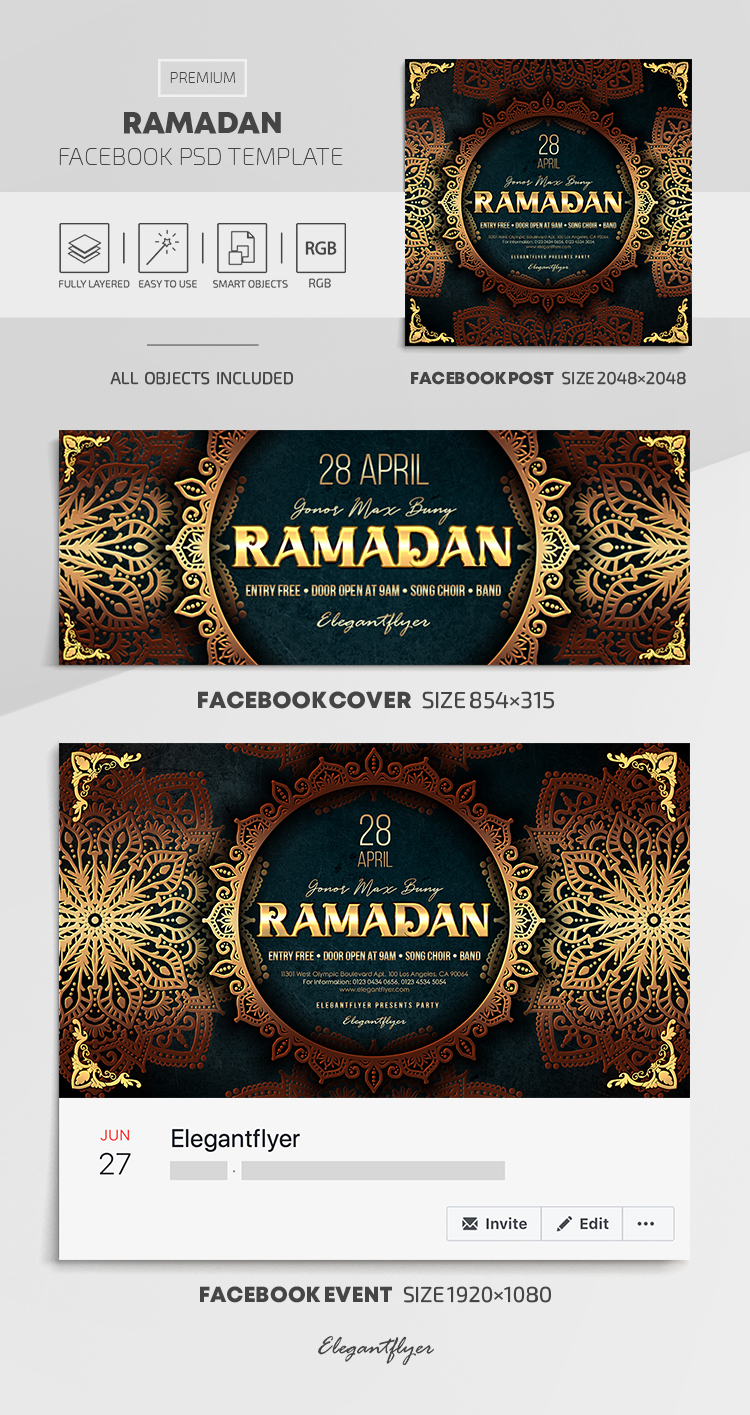 Ramadan – Facebook Cover Template in PSD + Post + Event cover