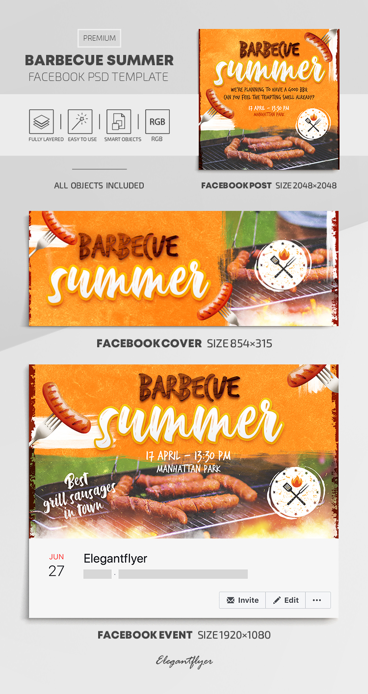 Barbecue Summer – Facebook Cover Template in PSD + Post + Event cover