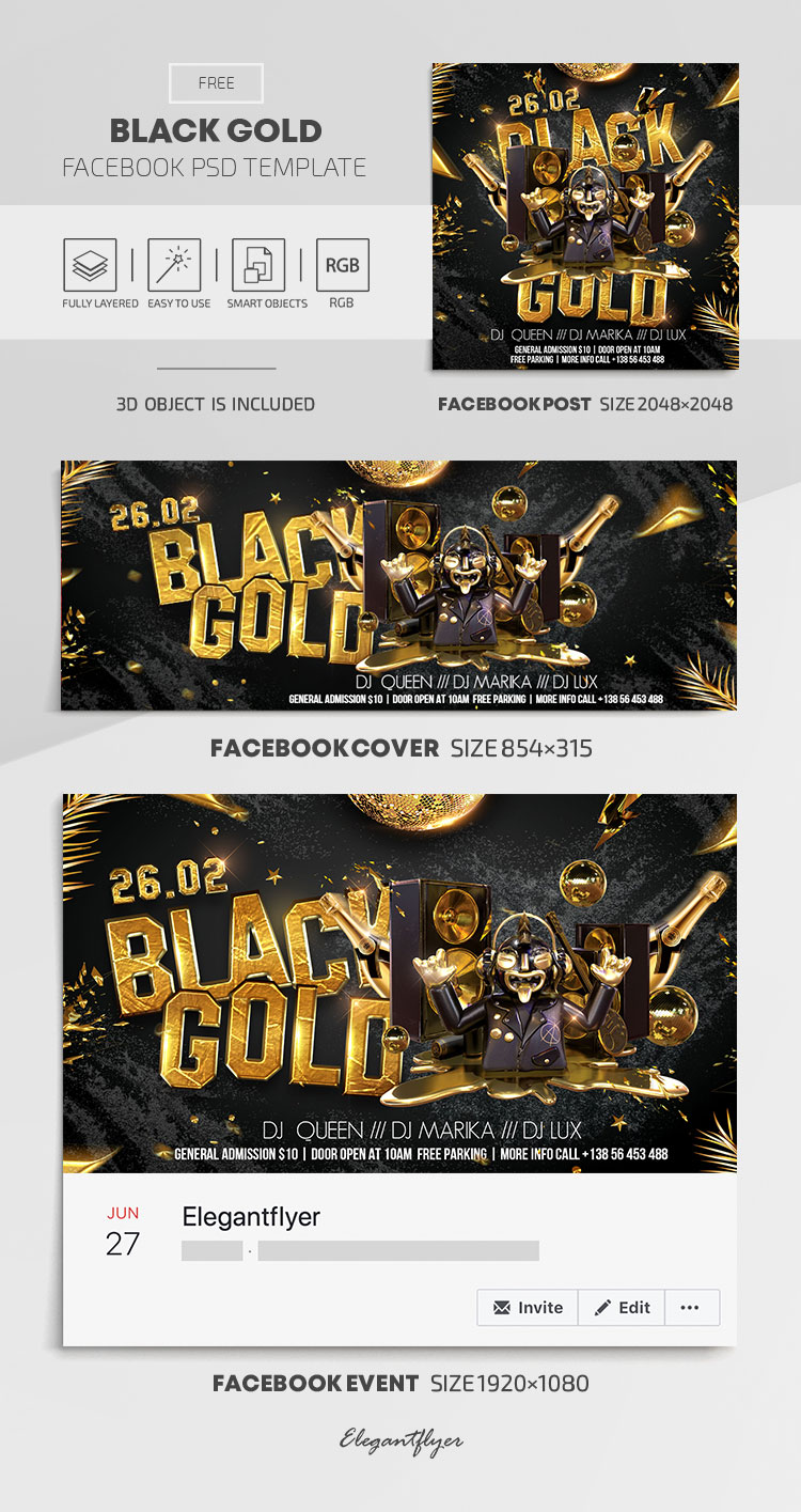 Black Gold – Free Facebook Cover Template in PSD + Post + Event cover