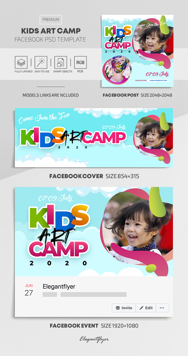 Kids Art Camp – Facebook Cover Template in PSD + Post + Event cover