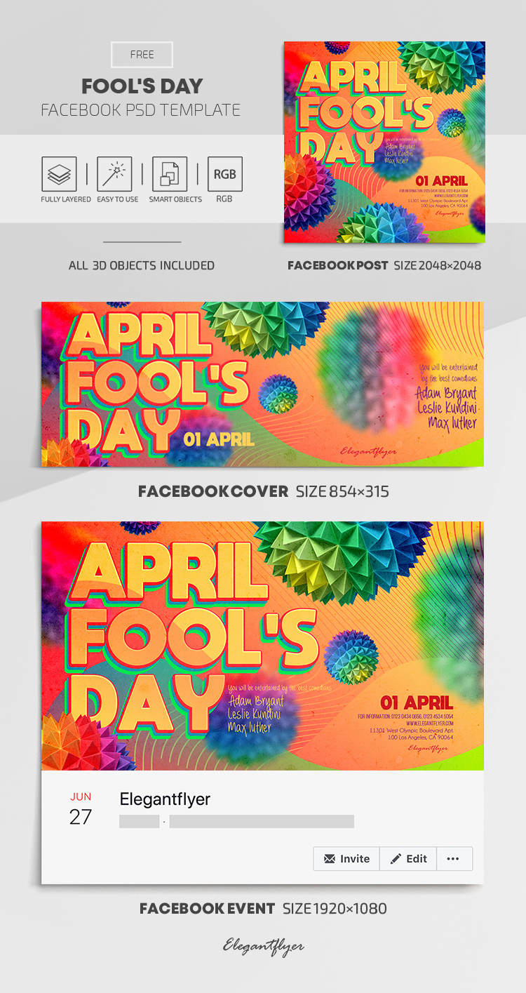 Fool's Day – Free Facebook Cover Template in PSD + Post + Event cover