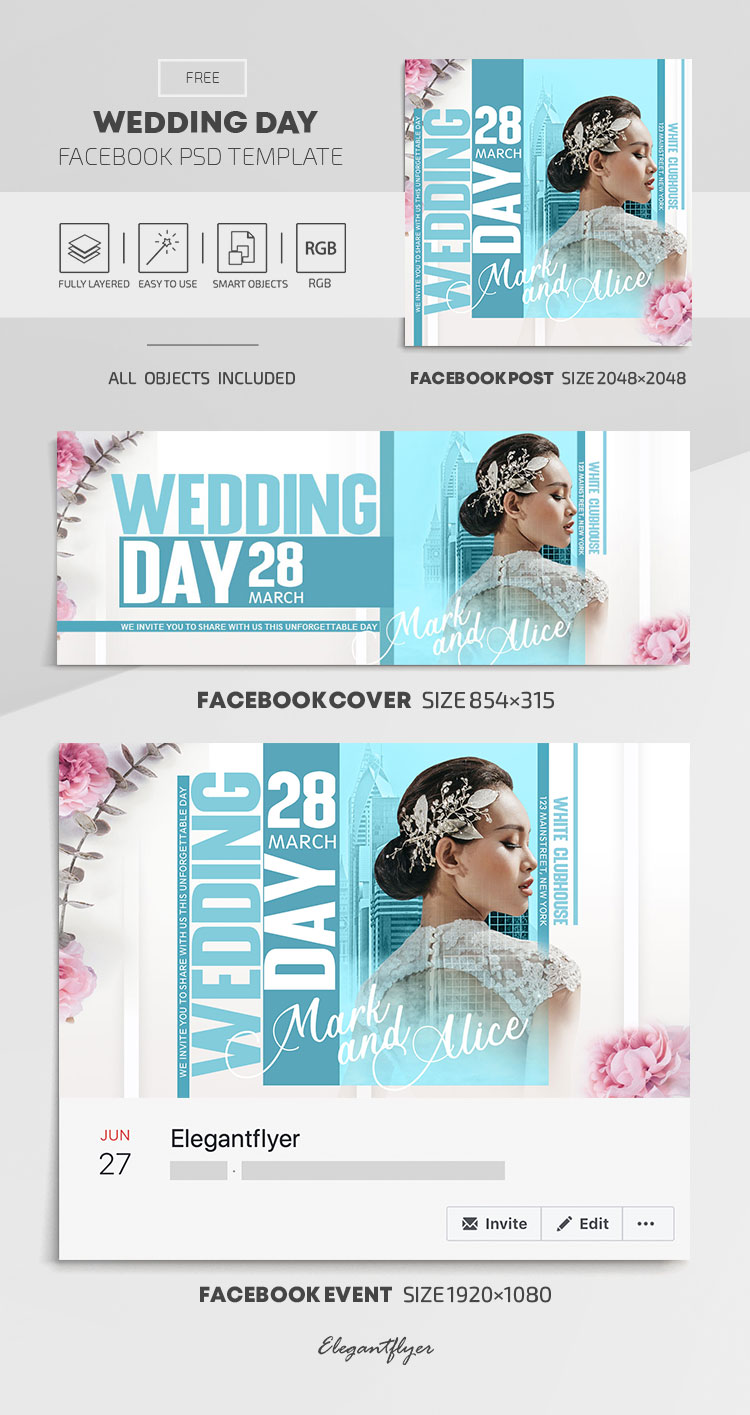 Wedding Day – Free Facebook Cover Template in PSD + Post + Event cover