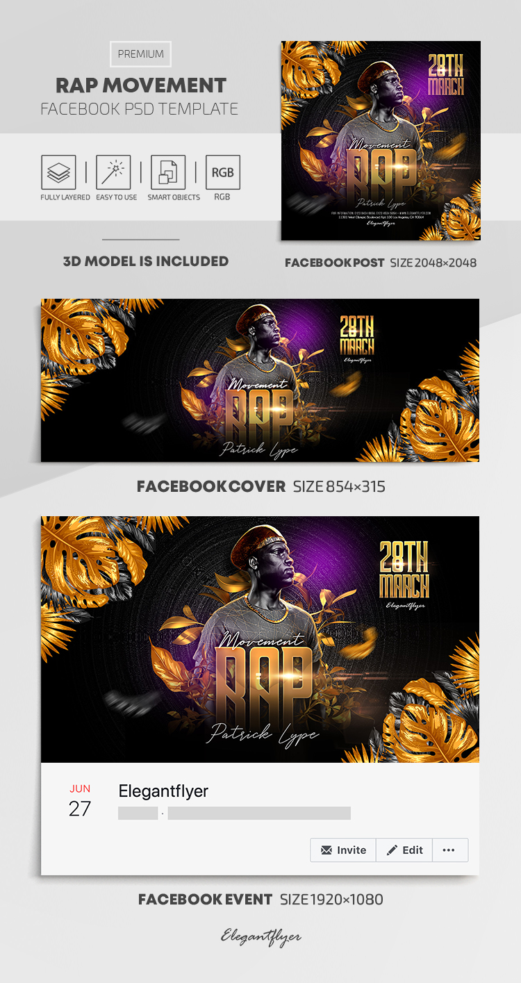 Rap Movement – Facebook Cover Template in PSD + Post + Event cover
