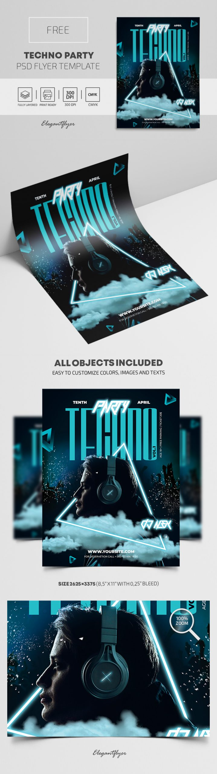 Techno Party – Free PSD Flyer Template