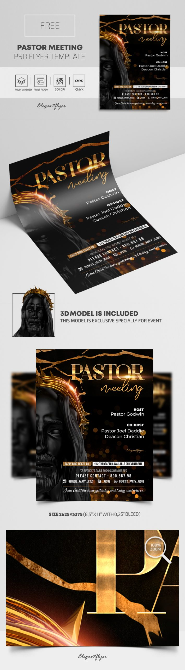 Pastor Meeting – Free PSD Flyer Template