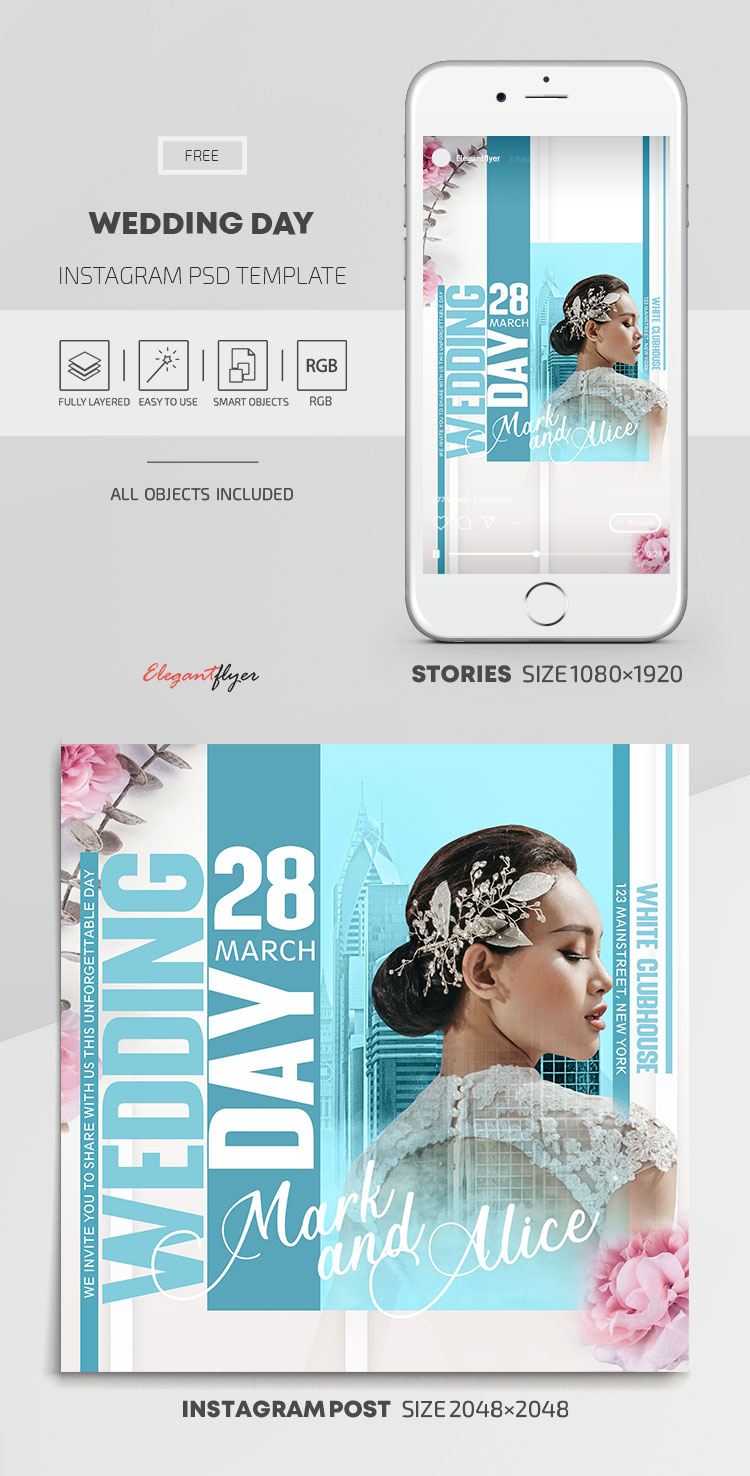 Wedding Day – Free Instagram Stories Template in PSD + Post Templates