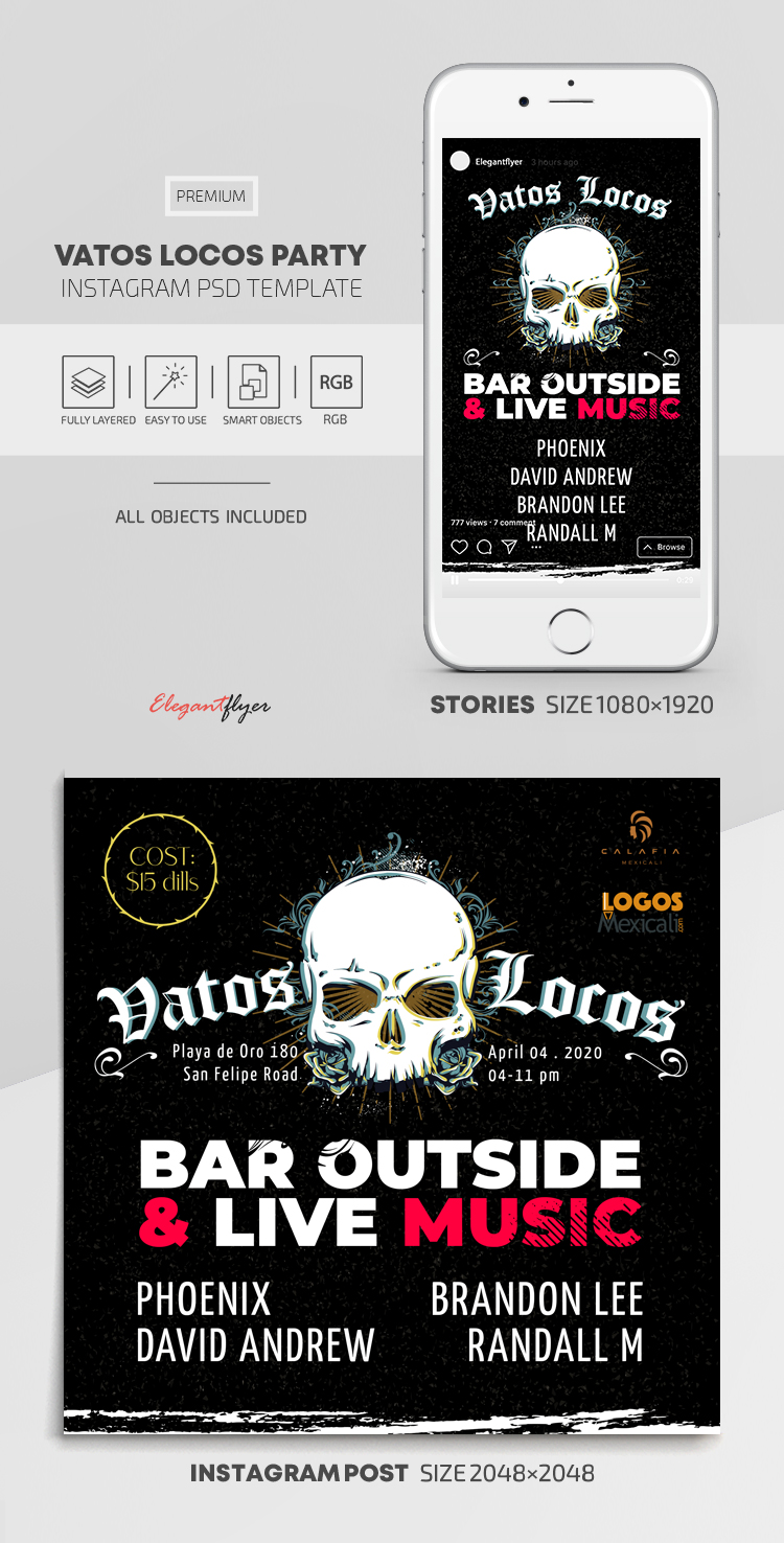 Vatos Locos Party – Instagram Stories Template in PSD + Post Templates