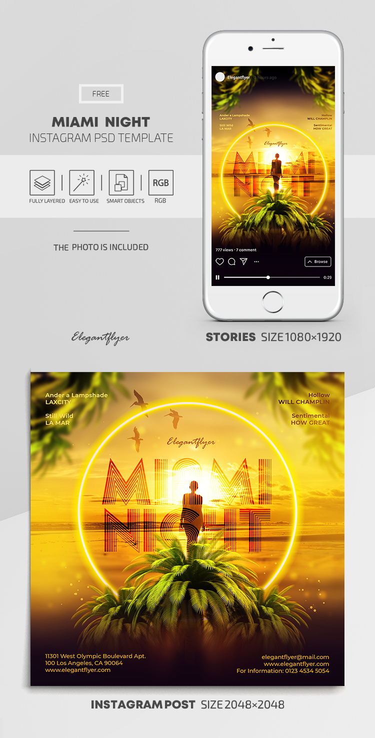 Miami Night – Free Instagram Stories Template in PSD + Post Templates