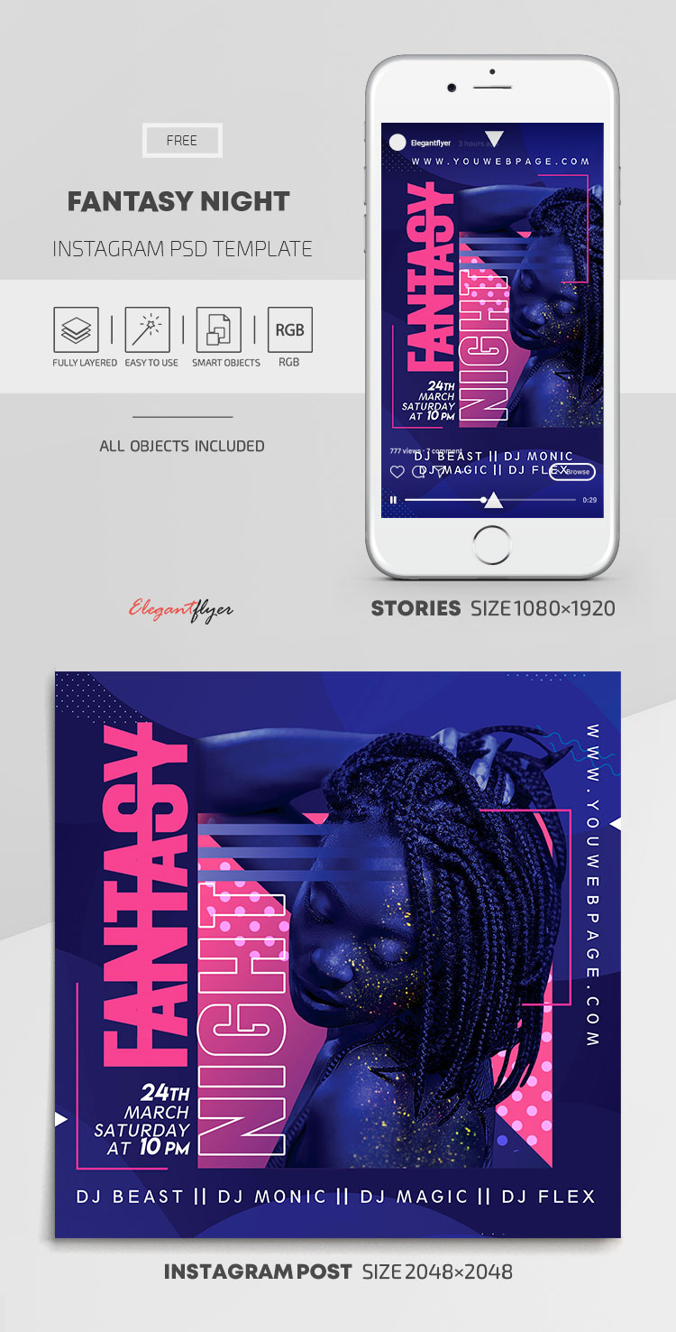 Fantasy Night – Free Instagram Stories Template in PSD + Post Templates