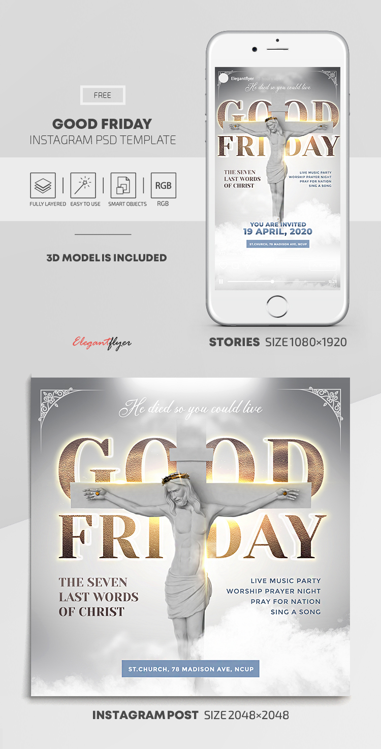 Good Friday – Free Instagram Stories Template in PSD + Post Templates