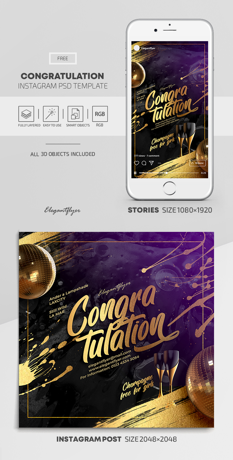 Congratulation – Free Instagram Stories Template in PSD + Post Templates
