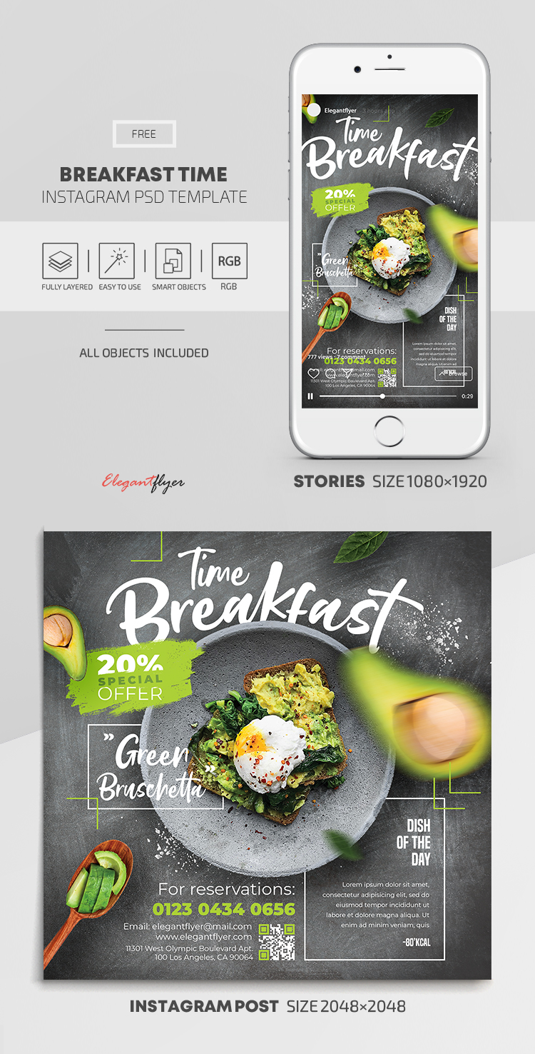 Breakfast Time – Free Instagram Stories Template in PSD + Post Templates