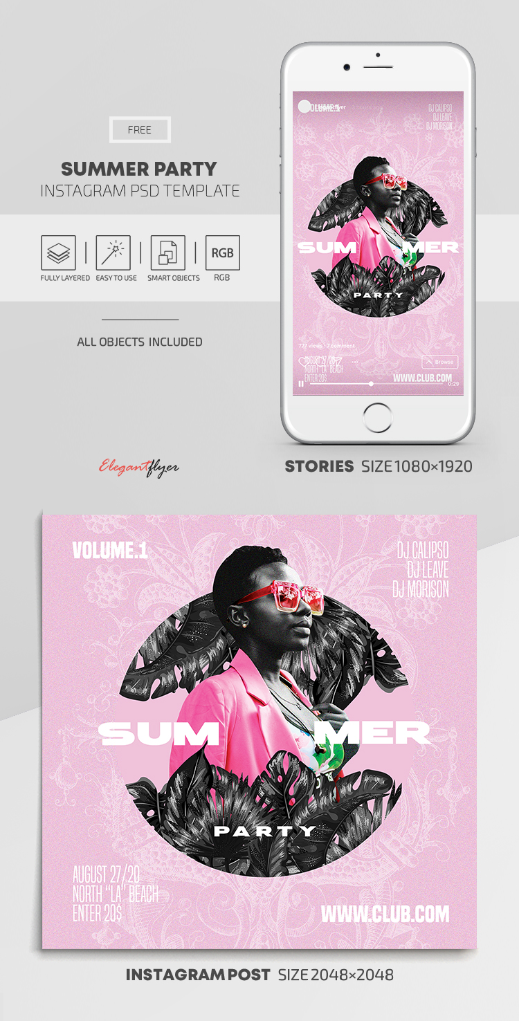 Summer Party – Free Instagram Stories Template in PSD + Post Templates