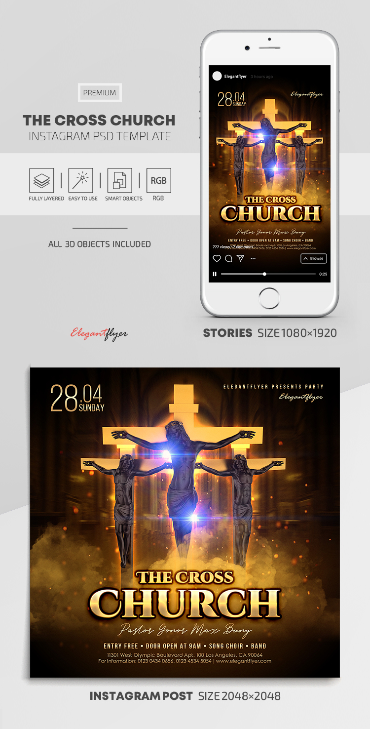The Cross Church – Instagram Stories Template in PSD + Post Templates