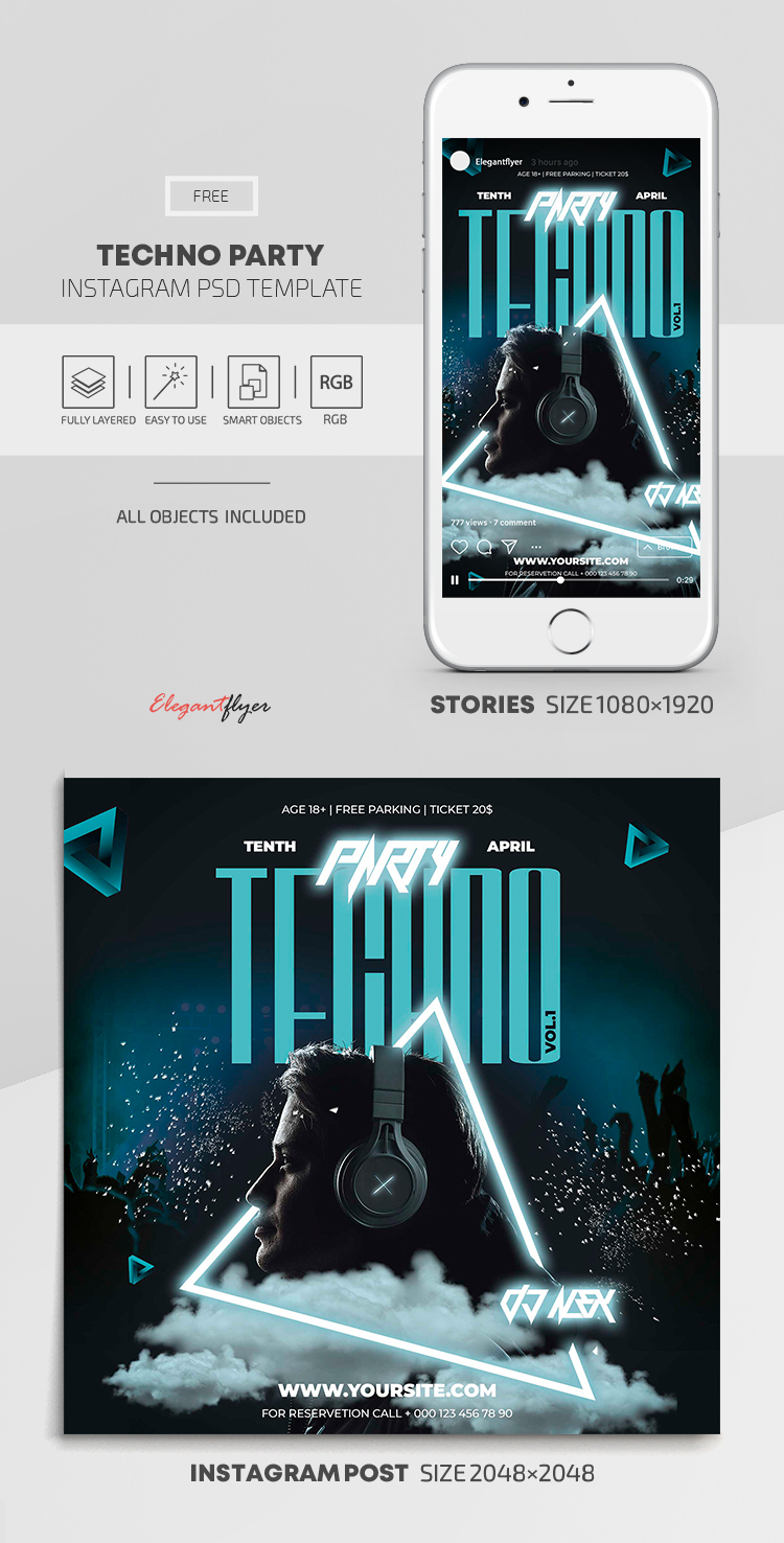 Techno Party – Free Instagram Stories Template in PSD + Post Templates