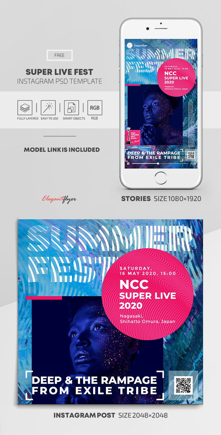 Super Live Fest – Free Instagram Stories Template in PSD + Post Templates