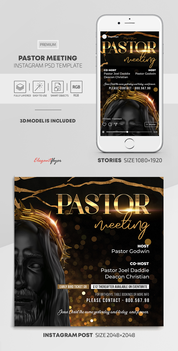 Pastor Meeting – Free Instagram Stories Template in PSD + Post Templates