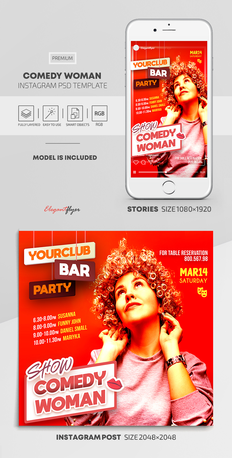 Comedy Woman – Instagram Stories Template in PSD + Post Templates
