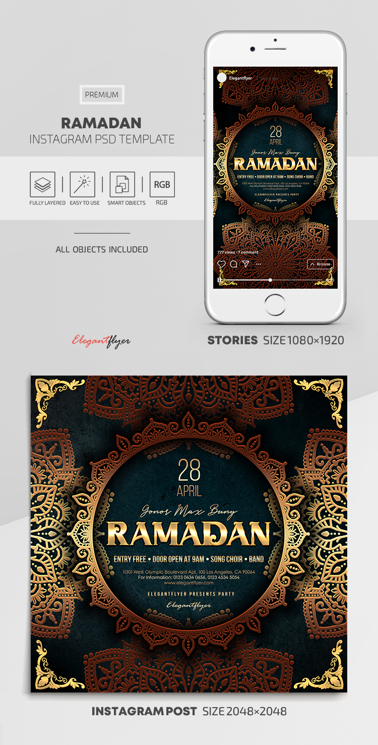 Ramadan – Instagram Stories Template in PSD + Post Templates