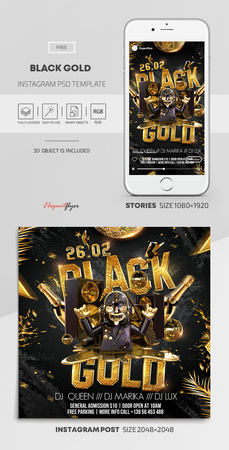 Black Gold – Free Instagram Stories Template in PSD + Post Templates