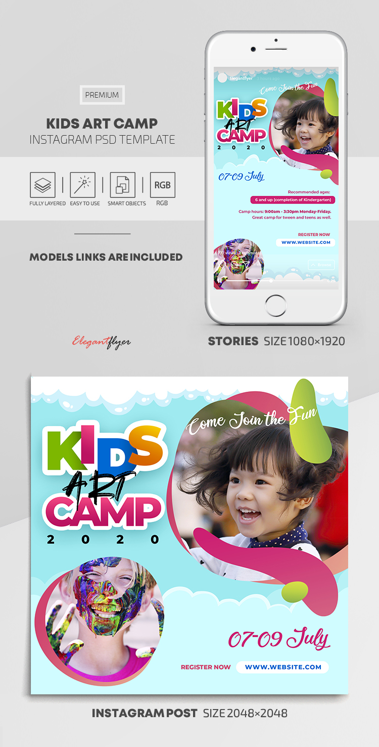 Kids Art Camp – Instagram Stories Template in PSD + Post Templates