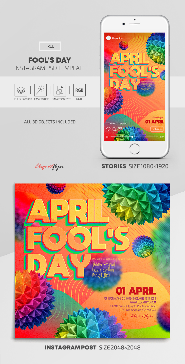 Fool's Day – Free Instagram Stories Template in PSD + Post Templates