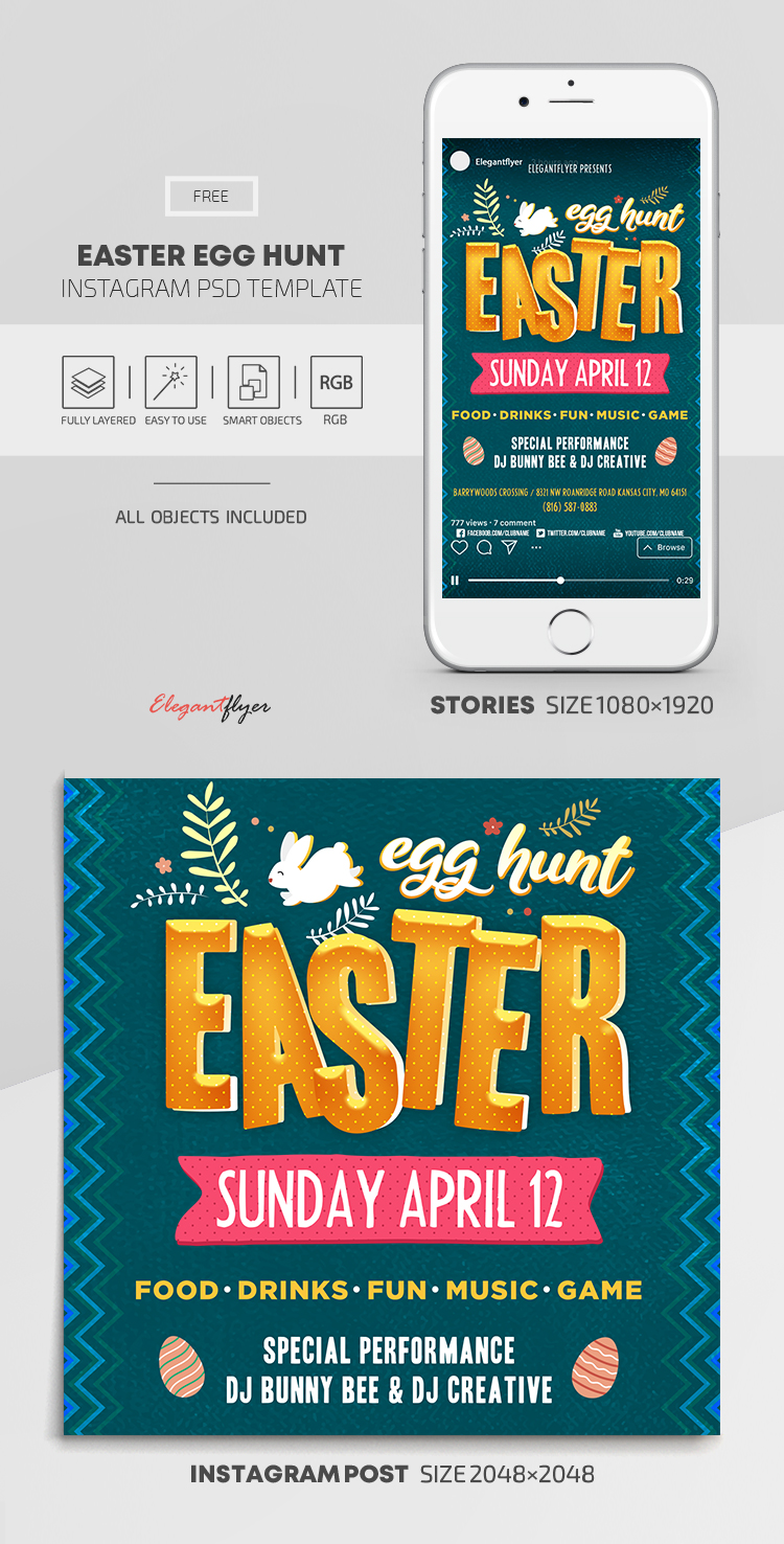 Easter Egg Hunt – Free Instagram Stories Template in PSD + Post Templates