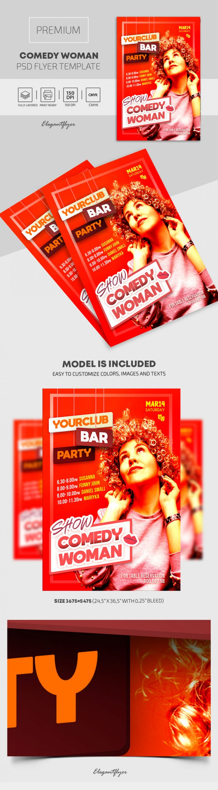 Comedy Woman – Premium PSD Poster Template