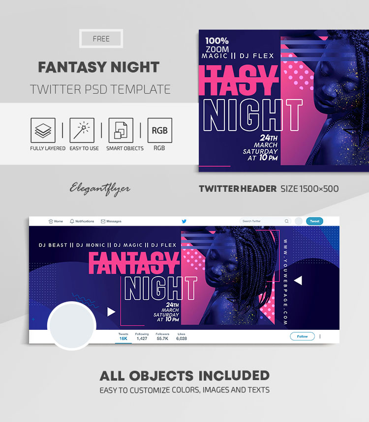 Fantasy Night – Free Twitter Header PSD Template