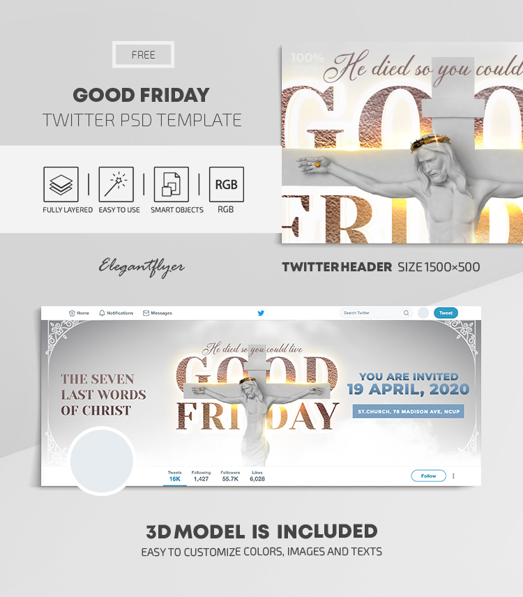 Good Friday – Free Twitter Header PSD Template