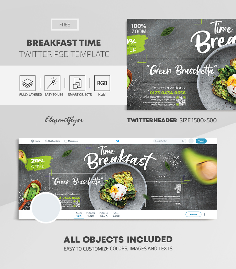 Breakfast Time – Free Twitter Header PSD Template