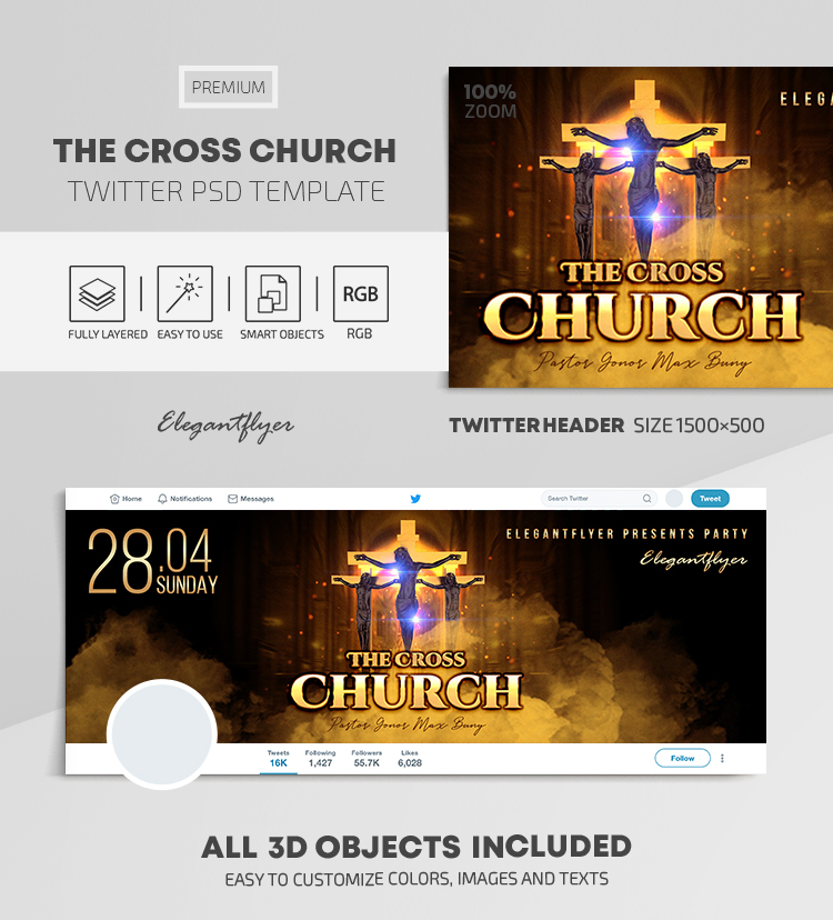 The Cross Church – Twitter Header PSD Template