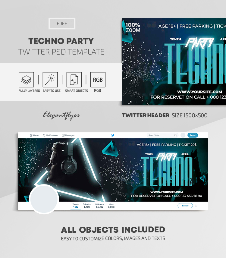 Techno Party – Free Twitter Header PSD Template
