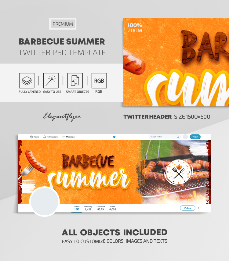 Barbecue Summer – Twitter Header PSD Template