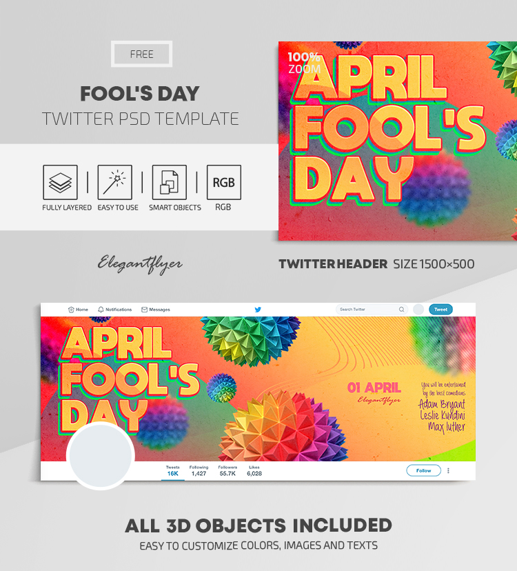 Fool's Day – Free Twitter Header PSD Template