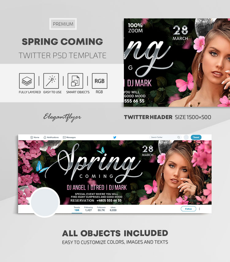 Spring Coming – Twitter Header PSD Template