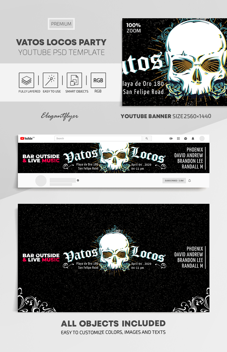 Vatos Locos Party – Youtube Channel banner PSD Template