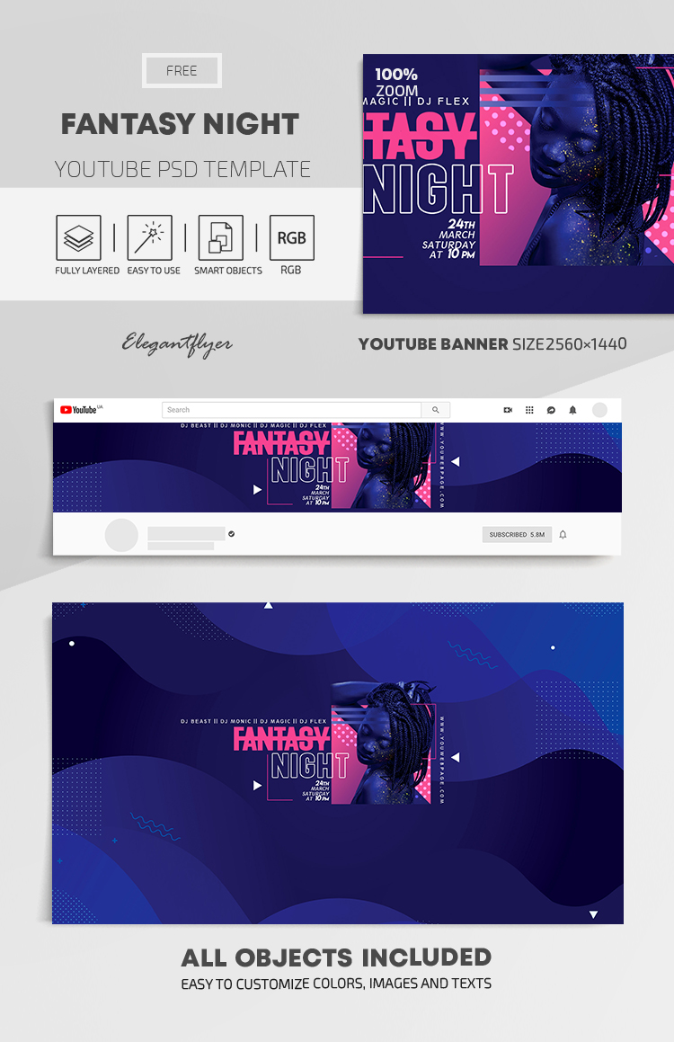 Fantasy Night – Free Youtube Channel banner PSD Template