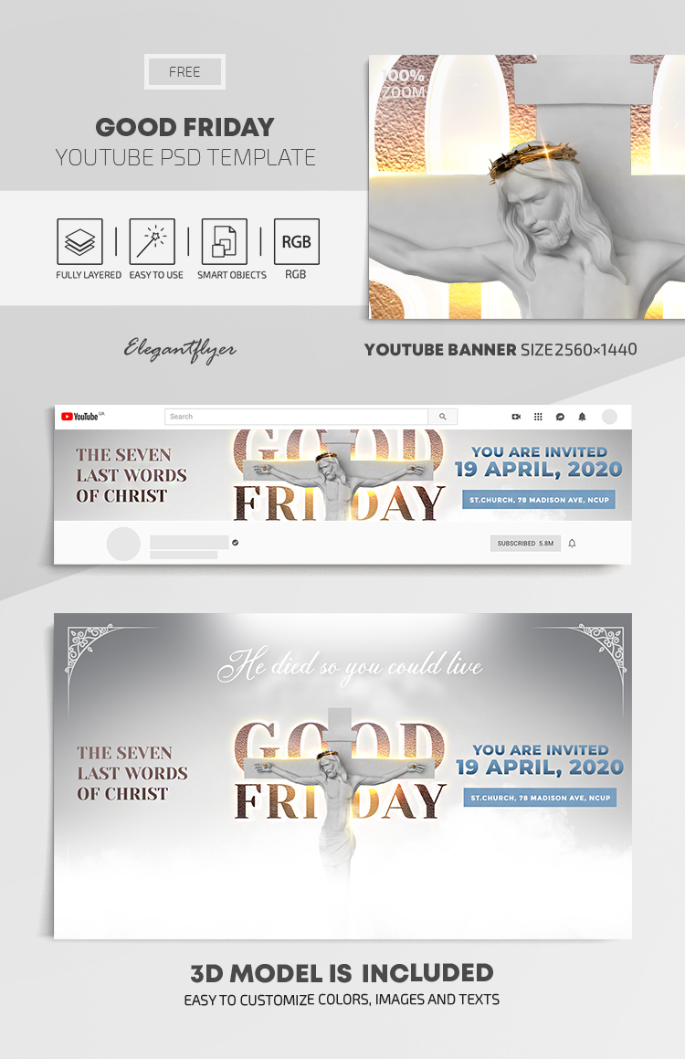 Good Friday – Free Youtube Channel banner PSD Template
