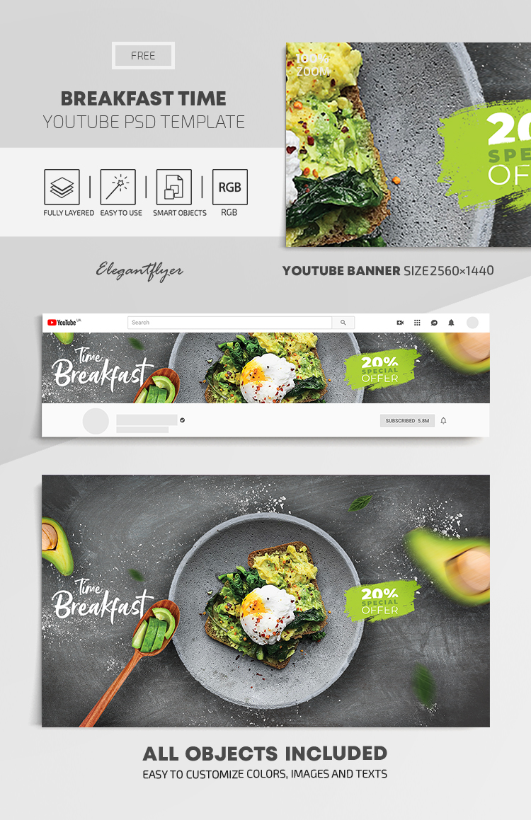 Breakfast Time – Free Youtube Channel banner PSD Template