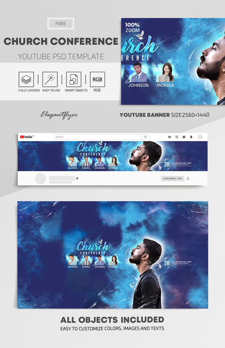 Church Conference – Free Youtube Channel banner PSD Template